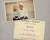 Save the Date Card, Save the Date Postcard, Vintage Save the Date Card - Roanna