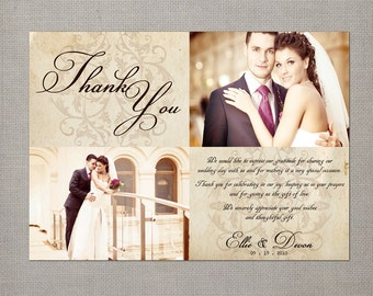 "Vintage Wedding Thank You Card - the ""Ellie"""
