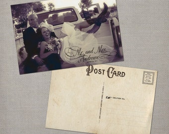 "Vintage Wedding Thank You Cards / Wedding thank yous / Wedding Thank You Cards / Thank you Cards / Thank you postcard - the ""Mr & Mrs """