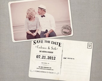 "Save the Date ideas / Vintage / Save the date postcard / Save the dates / Save the date cards - the ""Cadence"""