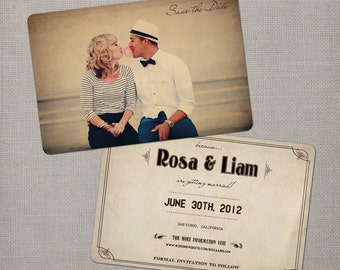 """Vintage Save the Date Cards, Photo Save the Date, Wedding Announcement - the """"Rosa"""""""