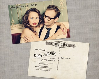 """Save the date postcard, 4x6 Save the date photo cards,  Custom, Vintage wedding stationery - the """"Kira"""""""