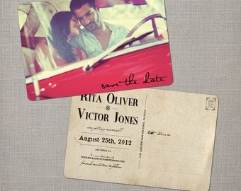 """Photo Save the Date / Vintage Save the Date / Save the date postcard / Save the dates / Save the date cards - the """"Rita"""""""