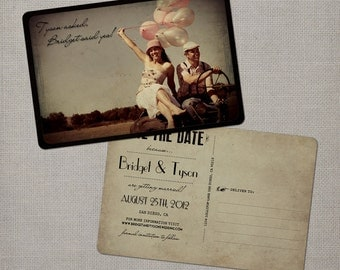 "Save the Date Card / Save the Date Postcard / Vintage Save the Date Card / Vintage Save the Date Postcard - the ""Bridget"""