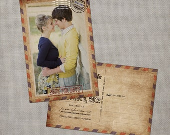 """Save the Date Card, Save the Date Postcard, Vintage Save the Date Card - the """"Vivienne"""""""