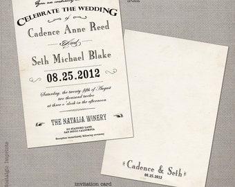 """Wedding Invitation, Wedding Invitations, Wedding Invites, Vintage Invitation, Vintage Wedding Invitation - the """"Cadence 1"""""""