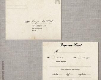 """Rsvp postcard / Rsvp postcards / Rustic wedding rsvp / Wedding rsvp card / Rsvp / Response card / Reply cards / Rsvp card - the """"Madeline 2"""""""