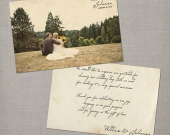 "Vintage Wedding Thank You Cards, thank you cards, thank you notes - the ""Julianna"""