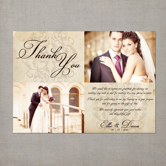 Thank You Letter For Wedding Invitation: Items Similar To Vintage Wedding Thank You Cards, 5x7