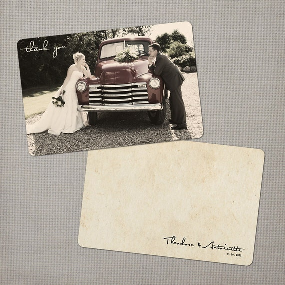 "Rustic Vintage Wedding Thank You Card, 4x6, Wedding Thank You Card, the ""Antoinette"""