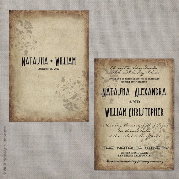 "Vintage Rustic Wedding Invitations, 5x7, Wedding invitations, the ""Natasha 2"""