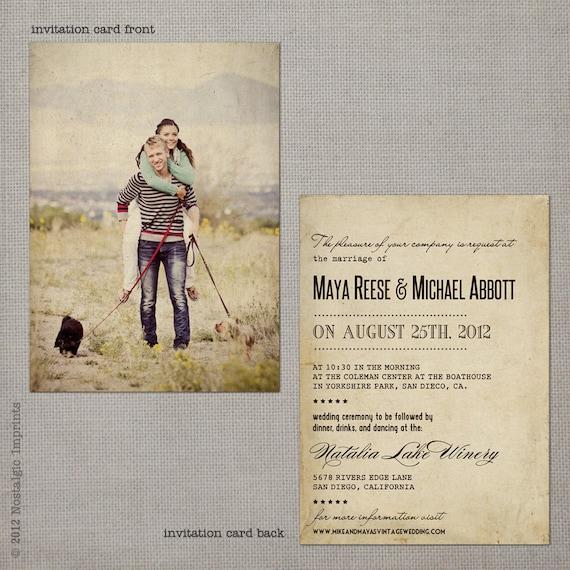 reserved for rscott519 - Vintage Wedding Invitation - Maya (set 2)