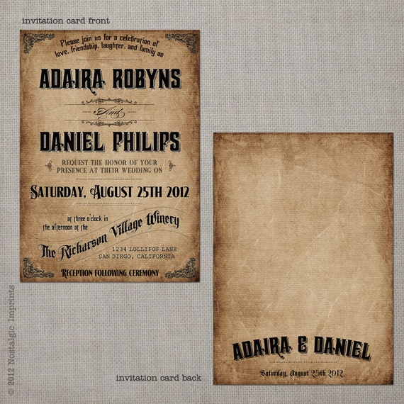 "Vintage Wedding Invitation - the ""Adaira 2"""