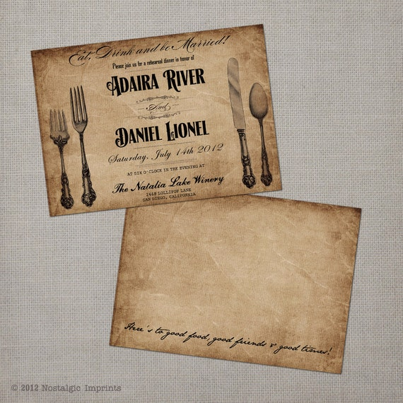 Vintage Rehearsal Dinner Invitation - Eat, Drink & be Married (set 1)