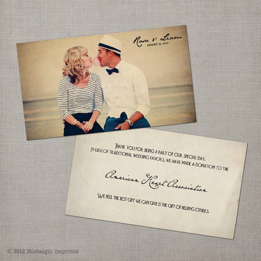 Wedding Gift Donation To Charity Wording : 50 Wedding Favor Donation Cards ?Recollection? OnePaperHeart ...