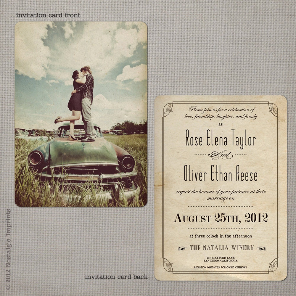 Vintage Wedding Invitations: Wedding Invitations / Wedding Guest Invitations / Wedding