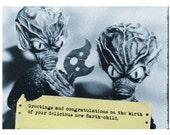 New Baby, Aliens, New Baby Card, Alien Art, Scifi Art, Geekery, Alternate Histories, Birth Announcement, martians