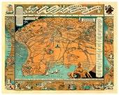 Digital Print, Los Angeles, zombie art, Los Angeles Map, Olympics, geekery, zombies, alternate histories, zombie hunter, 1930s