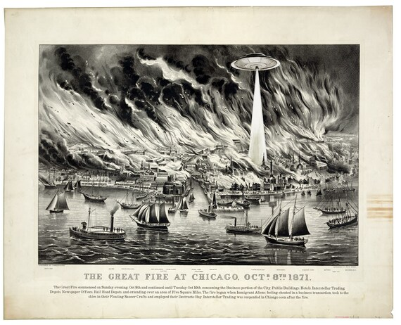 Chicago Digital Print, Alien Poster, Chicago Fire Art Print, Chicago Illinois Alternate Histories Geekery UFO Flying Saucer