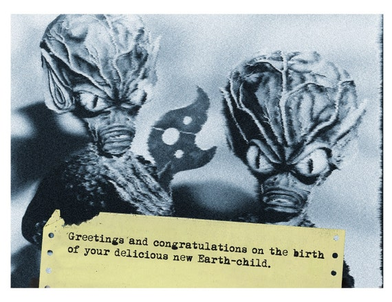 New Baby, Aliens, New Baby Card, Alien Art, Scifi Art, Geekery, Alternate Histories, Birth Announcement, martians