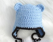 Organic Baby Hat - Blue Earflap Beanie with Espresso Trim. Photography prop Ready to ship