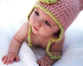 Organic Baby Hat - Pink Earflap Beanie with Dusty Sage Trim. Preemie, Baby, Toddler, Child. Photography prop Gift under 50