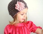 Organic Cotton Beanie Hat  - Walnut, Strawberry.Size 1 Photography prop Ready to ship