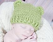 Preemie Organic Baby Hat - Dusty Sage Beanie with Bear Ears. Photography prop