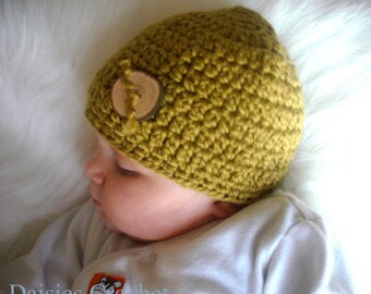 Organic Cotton Beanie Hat with Natural Wooden Button- Olive. Great photo prop. Ready to ship