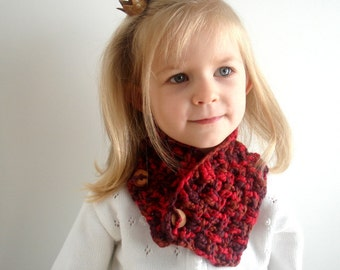 Crochet PATTERN pdf Girl Boy Teen Adult Unisex Cowl Neck warmer Scarf with buttons (022)