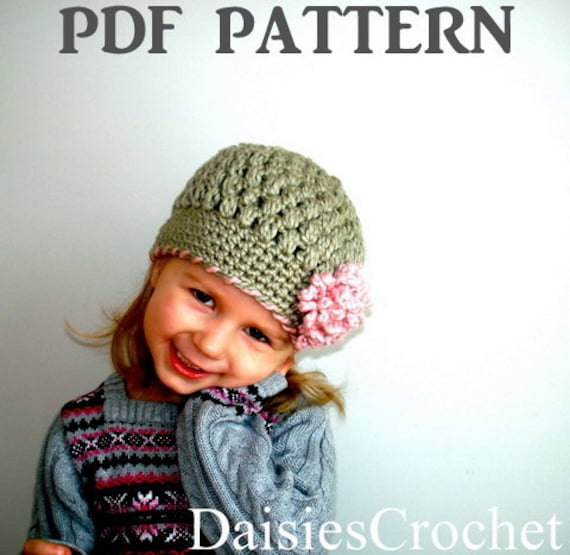 Crochet pattern pdf Girl Beanie Hat with Flower. Puffer Hat. Christmas Birthday gift 7 sizes (017)