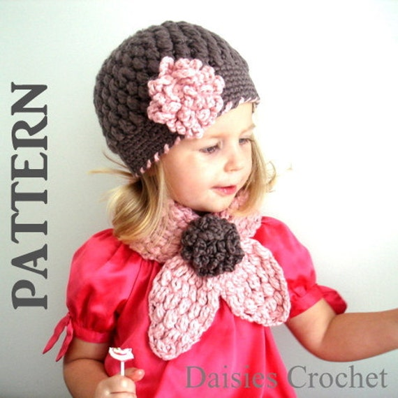 2 PATTERNS PDF Crochet Hat Scarf set. Newborn Infant Toddler