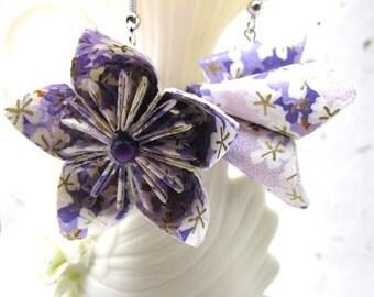 Kasudama Origami Earrings, Japanese Origami Jewelry, Asian Jewelry, Purple Sakura Handmade Paper Earrings, Cosplay earrings