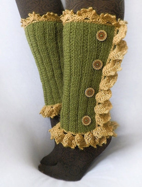 Elves Forest - autumn ruffled long leg warmers spats hand knit green