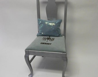 SALE Swanky Cabriole Legged Mint Green and Silver Accent Chair