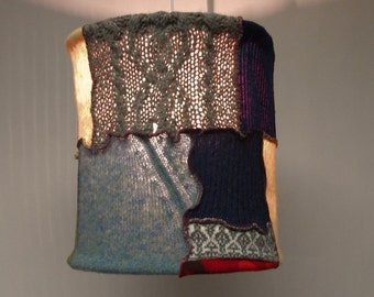 Tattered Chic Wool  Sweater Knit Patchwork Pendant Lamp