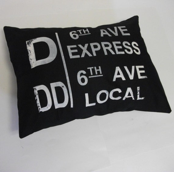 Vintage inspired D train pillow