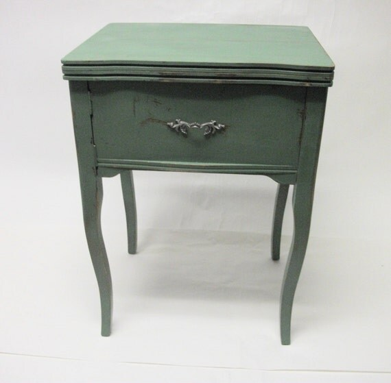 Hand Painted Paris Apartment Sewing Cabinet Desk Table