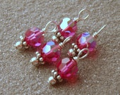 Fuchsia Pink Swarovski Dangle Charms Sterling Silver, Set of 5
