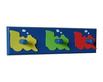 Colourful train theme wooden coat rack with 3 hooks
