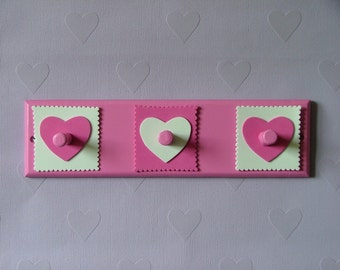 Pink and white hearts wooden coat rack with 3 hooks