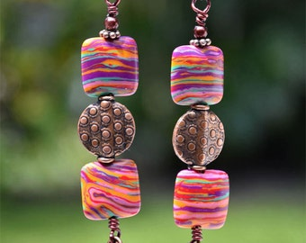 Colorful Long Bohemian Dangly Jewelry Ethnic Tribal Multi Color Gipsy Copper Earrings