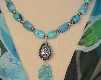 Charming Chalcedony and Amazonite Sterling Silver Tassel Necklace and Earrings Set
