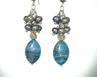 Long and Dangling, Blue Larimar Cluster Fresh Water Pearl Sterling Silver Earrings