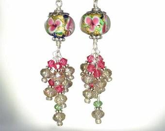 Flowers and Sparkles Sterling Silver Earrings, Monet -Fleur-de-lis