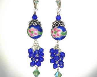 Long and Dangly, Hand Painted, Pink and Green Flowers, Sterling Silver Earrings