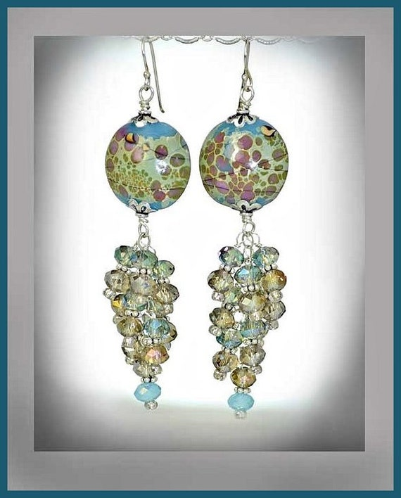 Cluster Blue Green and Mauve, Sterling Silver, Crystal Lampwork Earrings