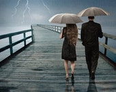 Weathering the Storm Together under Umbrellas with lightning flashing in a Thunderstorm No.62808am A Fine Art Surreal Fantasy Photograph