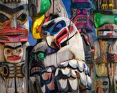 Totem Poles on Vancouver Island in Pacific Northwest British Columbia Canada No.6 Color Wall Decor Fine Art Cultural Landscape Photography