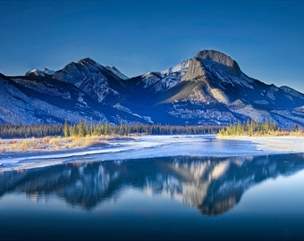 Rocky Mountain Range Panorama with Reflections in Jasper National Park in Alberta Canada in Winter No.0017- A Fine Art Landscape Photograph